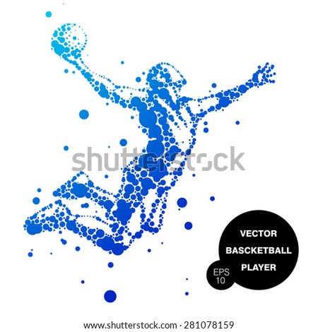 abstract basketball player in jump - stock vector