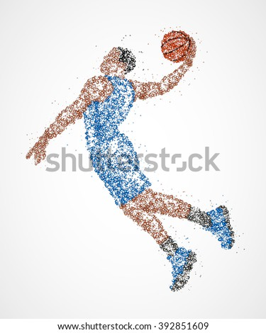 Abstract basketball player in jump of multicolored circles. Vector illustration. - stock vector