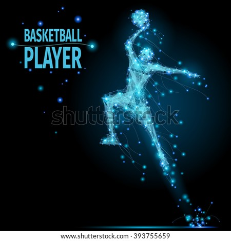 Abstract basketball player in motion with cybernetic particles. Vector mesh spheres from flying debris. Basketball man jumping polygonal thin line concept.  - stock vector
