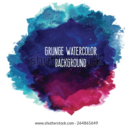 Abstract beautiful and elegant colorful bright vector watercolor spot hand painted background. Text template. Summer colors. Blue, lilac and red shades. - stock vector