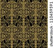 Abstract beautiful background, royal, damask ornament, vintage, rich seamless pattern, luxury, artistic vector wallpaper, floral, oldest style fashioned arabesque fabric for decoration and design - stock photo