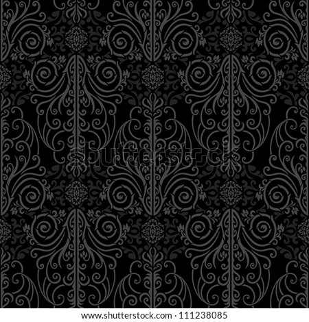 Abstract beautiful black background, royal, damask ornament, vintage, rich seamless pattern, luxury vector wallpaper, floral, oldest style fashioned arabesque fabric for decoration and design - stock vector