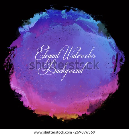 Abstract beautiful colorful bright vector watercolor spot hand painted background. Lilac and magenta and blue shades on black background. Text template. Spring and summer colors. Fashion trend color.  - stock vector