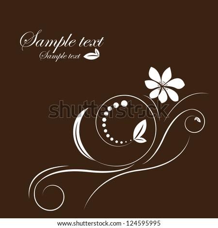 Abstract beautiful flowers creative design dark brown - stock vector