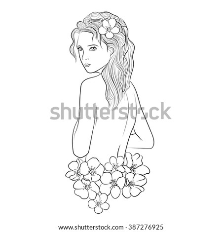 abstract beautiful hand-drawn woman with flowers. vector illustration doodle - stock vector