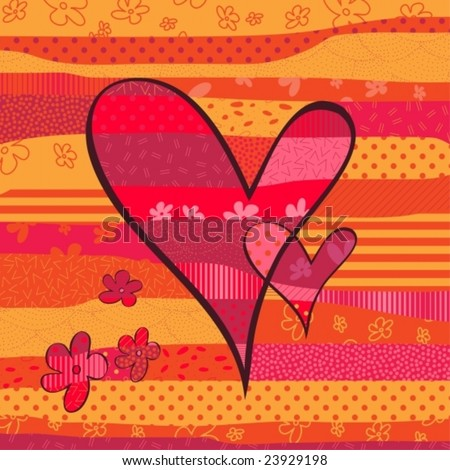 Abstract beautiful heart collage-vector - stock vector