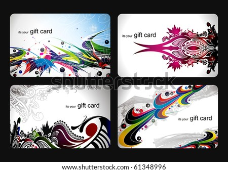 abstract beautiful set of  gift card design, vector illustration. - stock vector