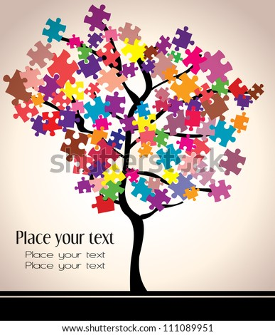 abstract beautiful tree design with puzzles. - stock vector