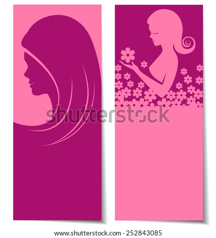 Abstract beautiful women card background - stock vector