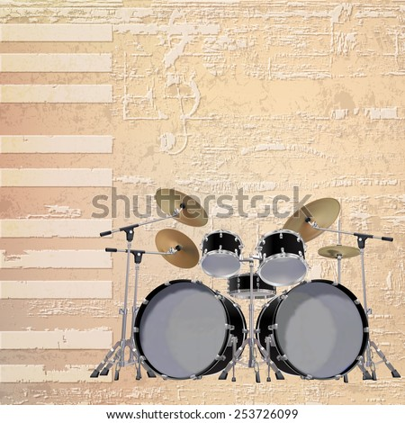 abstract beige grunge piano background with black drum kit - stock vector
