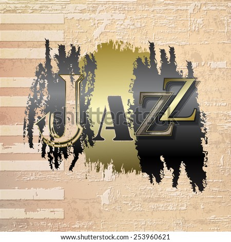 abstract beige grunge piano background with word Jazz - stock vector