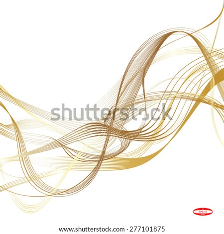 abstract beige line golden wave cream band isolated on white background vector - stock vector