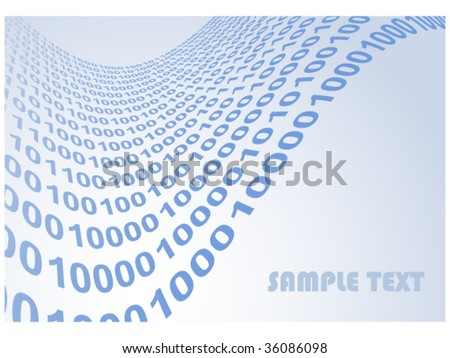 abstract binary code waves vector illustration background with copyspace for your text