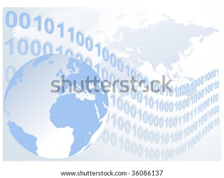 Abstract binary code waves globe europe vectores en stock 36198229 abstract binary code waves with globe and world map vector illustration background gumiabroncs Image collections