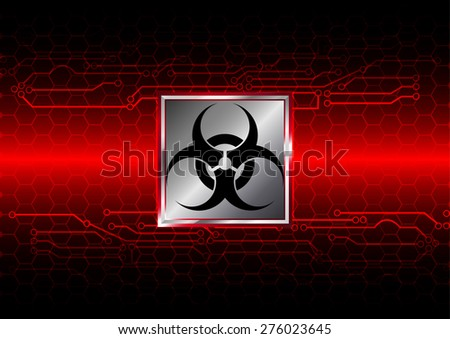 Abstract biohazard with hexagon and circuit  background - stock vector
