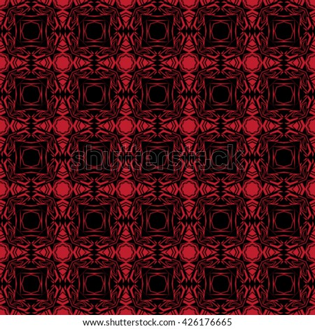 Abstract black and red seamless pattern - Vector illustration.
