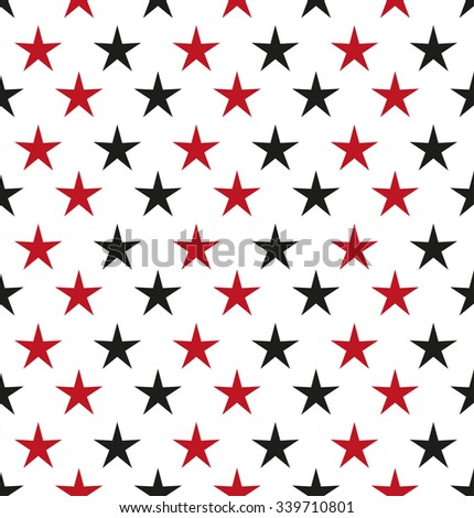 Abstract black and red stars. Seamless vector background