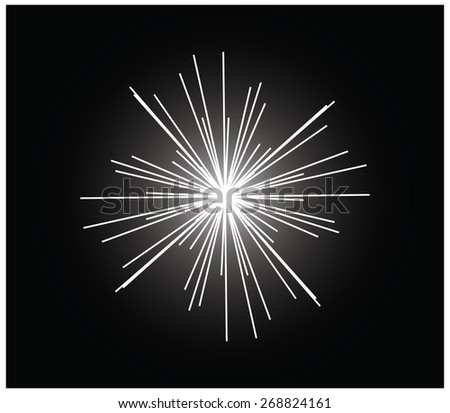 Abstract black and white background of a firework or an illuminated object, a black and white line construction, a greyscale light patterns - stock vector