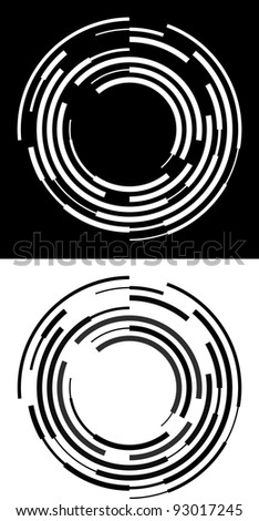 Abstract black and white broken circles - stock vector