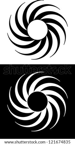 Abstract black and white circular swirling design - stock vector