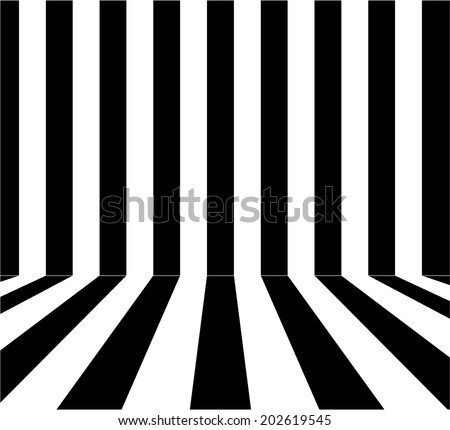 Abstract black and white color stripe background. Room interior vintage with black and with wall and floor line design. vector art image illustration, eps10, easy editable - stock vector