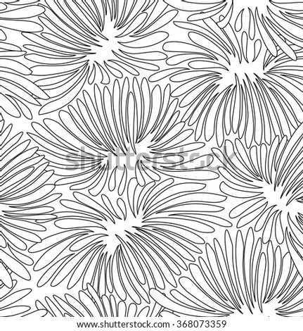 Abstract black and white contour floral background. Pattern with decorative chrysanthemums for coloring book - stock vector