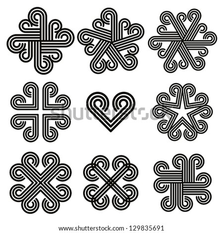 Abstract black and white curly icons, vector set.