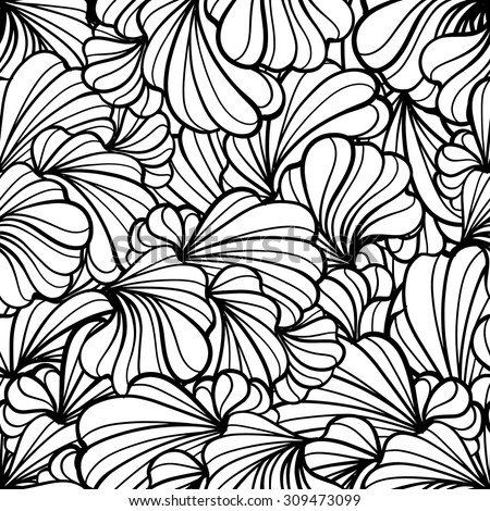 Abstract black and white floral shapes vector seamless pattern.  - stock vector