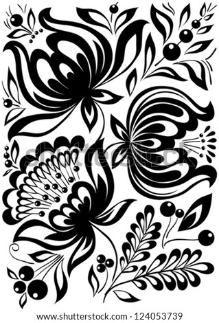 abstract black and white flowers. Stylish retro ornament. design element - stock vector