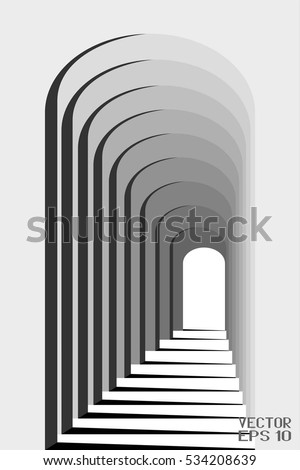 Abstract Black and White Geometric Pattern with Colonnade. Architectural Light and Shadow. Vector. 3D Illustration