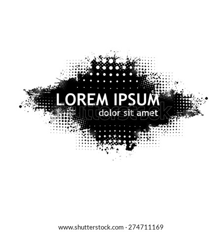 abstract black and white grunge background with splats and  halftone. Vector - stock vector