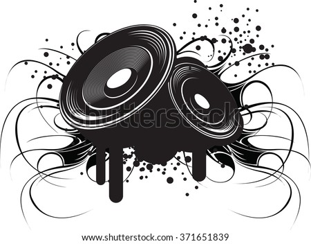 Abstract black and white illustration on modern urban theme: club music and sound. - stock vector
