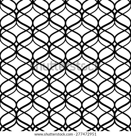 Abstract black and white lattice geometric seamless pattern, vector - stock vector