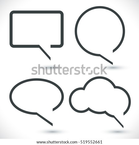 Abstract black and white quotation speech bubbles vector set.