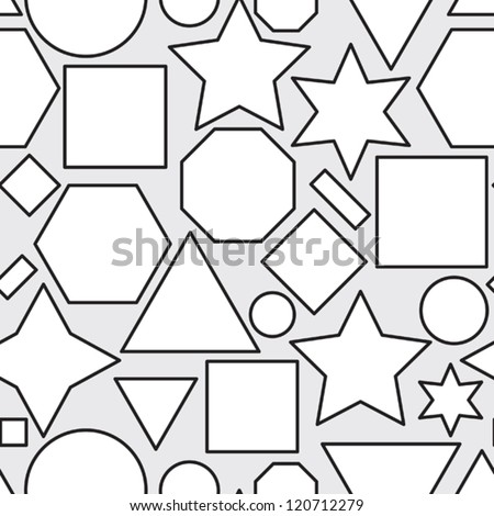 Abstract black and white seamless pattern with geometric shapes. Vector illustration.