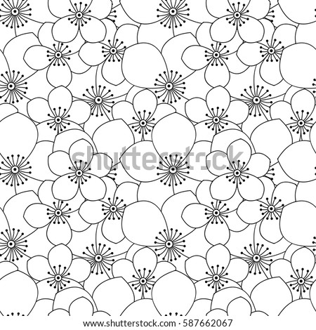Abstract black and white simple flower pattern monochrome floral cute print with flowers