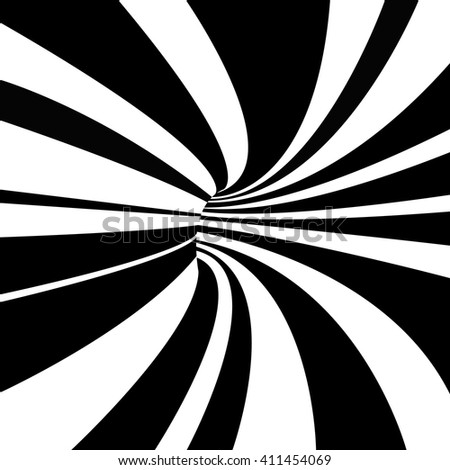 Abstract black and white tunnel. Vector background. - stock vector