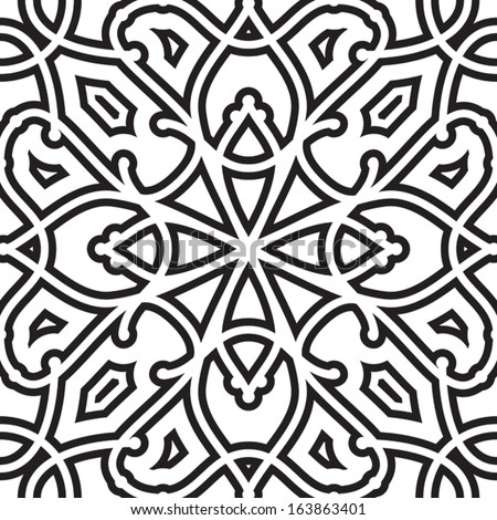Abstract black and white vector geometric seamless pattern  - stock vector