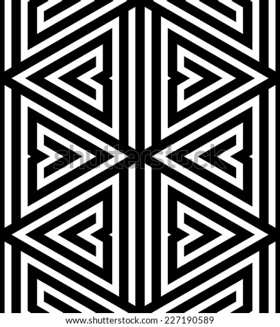 Abstract Black and White ZigZag Vector Seamless Pattern, Triangle Based - stock vector