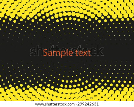 Abstract black and yellow vector background. Halftone effect template