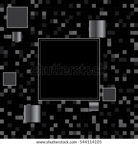Abstract black background of a plurality of squares & pixels