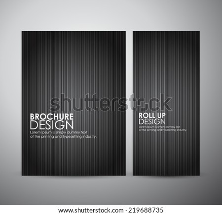 Abstract black background or gray design pattern of vertical lines. Brochure business design template or roll up. - stock vector