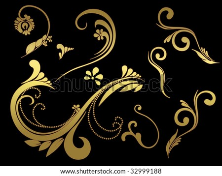 abstract black background with creative golden tattoo - stock vector