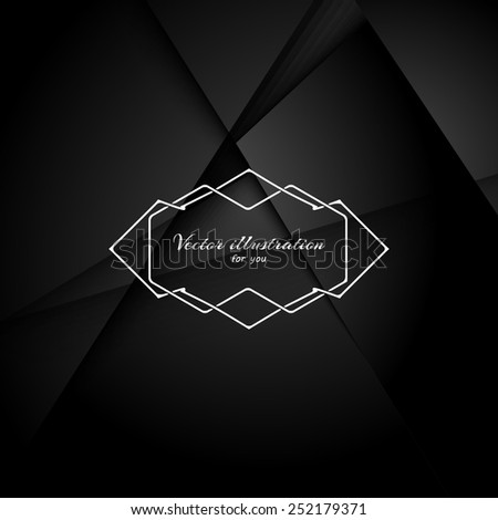 Abstract black background with realistic shadows. Retro Vintage Insignia and Logotype. Business Sign, Logo, Frame, Border and Other Design Element. EPS10.Template. - stock vector