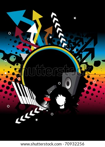 abstract black dotted, colorful arrow background with musical instrument