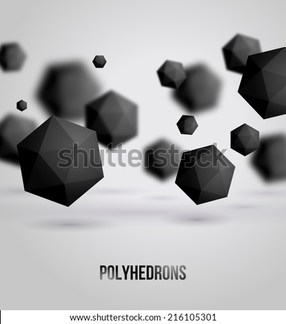 Abstract black geometric shapes on bright background, for graphic design. Vector illustration. Polyhedrons. Crystals. Technology or scientific backdrop. Place for your text. - stock vector
