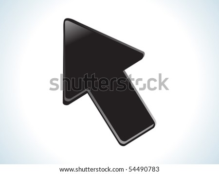 abstract black glossy web cursor icon vector illustration - stock vector