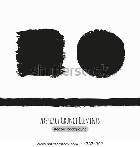 Abstract black grunge shapes for design. Vector illustration - stock vector