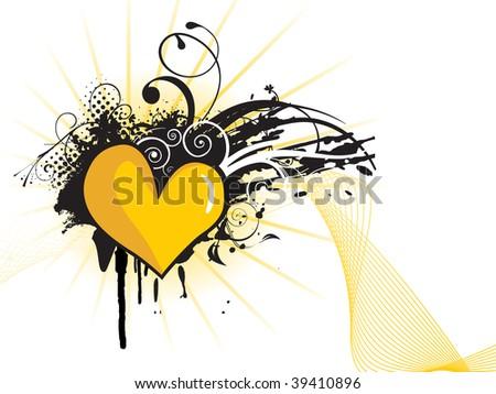 abstract black grunge with creative design and yellow heart shape - stock vector