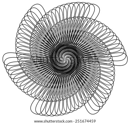 Abstract black line design with 6 fold rotational symmetry resembling a spiral wire spring. The vector file is an AI 8 compatible eps file.